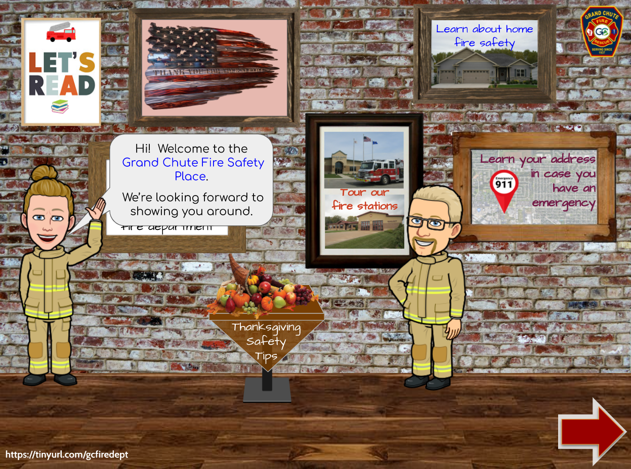 Room with posters for reading, fire station tour, department personnel