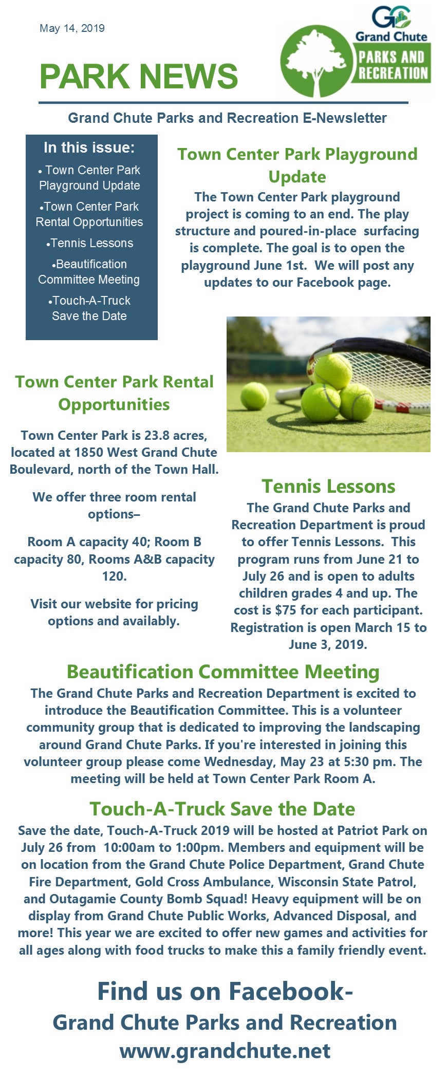 Grand Chute » Departments » Parks & Recreation » Newsletters